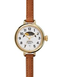 Shinola - The Birdy Moon Phase Leather Strap Watch - Lyst