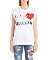Dolce & Gabbana - Amore Graphic Tank Top - Lyst