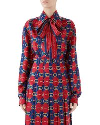 e2f71bbe3 Women's Gucci Blouses On Sale - Lyst