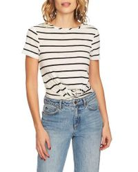 1.STATE - Stripe Twist Front Short Sleeve Tee - Lyst