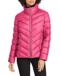 Lauren by Ralph Lauren - Chevron Quilted Packable Down Jacket, Red - Lyst