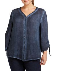 Foxcroft - Marlin Button Front Top - Lyst