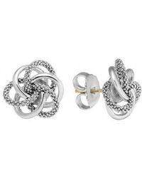 "Lagos - Sterling Silver Knot ""caviar"" Earrings - Lyst"