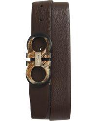 Ferragamo - Double Gancio Reversible Leather Belt - Lyst