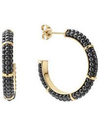Lagos - Gold & Black Caviar Hoop Earrings - Lyst