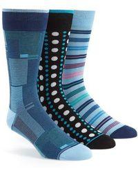 Bugatchi - 3-pack Assorted Mercerized Cotton Blend Sock Gift Set, Blue/green - Lyst
