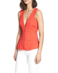 Trouvé - Trapunto Zip Front Sleeveless Top - Lyst