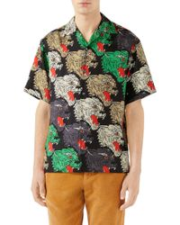 239b15d57d9 Lyst - Gucci Panther Face Bowling Shirt in Green for Men