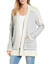 Caslon - Caslon French Terry Open Front Cotton Cardigan - Lyst