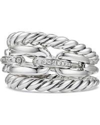 David Yurman - Wellesley Three-row Ring With Diamonds - Lyst