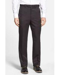 Berle - Self Sizer Waist Flat Front Trousers - Lyst