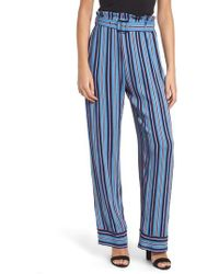 Band Of Gypsies - Blake Stripe Paperbag Waist Pants - Lyst