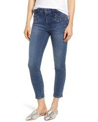 Mavi Jeans - Tess Faux Pearl & Crystal Embellished Skinny Jeans - Lyst