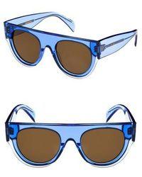 Céline - 51mm Pilot Sunglasses - Light Blue/ Brown - Lyst
