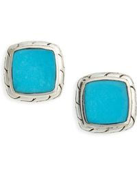 John Hardy - Classic Silver Chain Turquoise Stud Earrings - Lyst