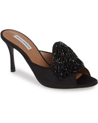56c308b40bff Lyst - Prada Beaded Satin Ankle Strap Platform Sandals in Black