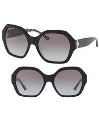 Tory Burch - Serif T 57mm Hexagonal Sunglasses - Lyst