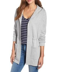 Caslon - Caslon Hooded French Terry Cardigan - Lyst