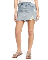 One Teaspoon - Distressed Denim Miniskirt - Lyst