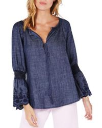 Michael Stars - Frilled Sleeve Peasant Top - Lyst
