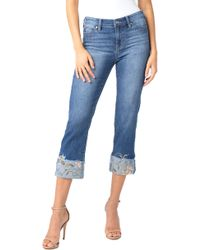 Liverpool Jeans Company - Sadie Embroidered Crop Straight Leg Jeans - Lyst