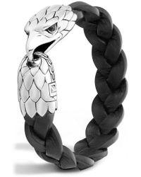 John Hardy - Legends Eagle Silver & Leather Braided Bracelet - Lyst