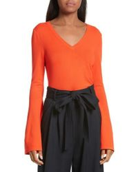 MILLY - Bell Sleeve V-neck Sweater - Lyst