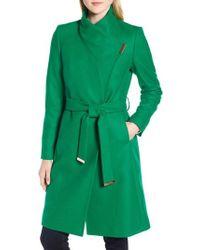 Ted Baker - Wool Blend Long Wrap Coat - Lyst