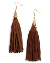 INK AND ALLOY - Ink + Alloy Suede Tassel Drop Earrings - Lyst