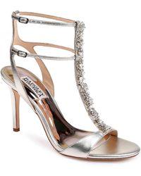Badgley Mischka - Hollow T-strap Embellished Sandal - Lyst