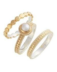 Anna Beck - Pearl Set Of 3 Stack Rings - Lyst