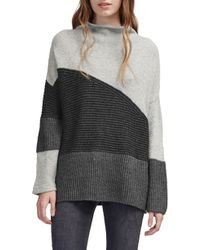 French Connection - Patchwork Mock Neck Sweater - Lyst