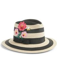 Kate Spade - Blossom Embroidered Straw Trilby - - Lyst