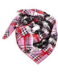 Burberry - Scribble Vintage Check Silk Square Scarf - Lyst