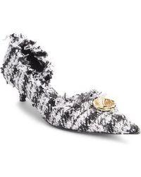 Balenciaga - Tweed Pointy Toe Half D'orsay Pump - Lyst