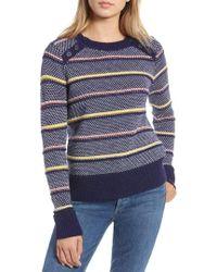 Nordstrom - 1901 Button Detail Stripe Wool Blend Texture Sweater - Lyst