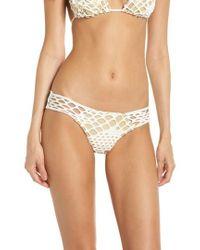 Luli Fama - Mesh Overlay Brazilian Bikini Bottoms - Lyst