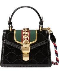 Gucci - Mini Sylvie Velvet Top Handle Bag - Lyst