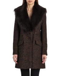 Belle By Badgley Mischka - 'holly' Faux Fur Collar Boucle Coat - Lyst