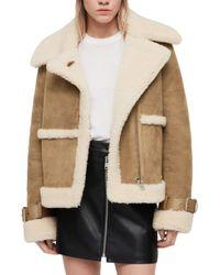 AllSaints - Farley Genuine Shearling Jacket - Lyst