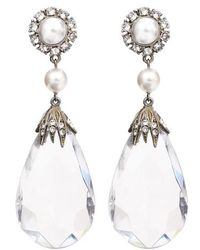 Ben-Amun - Imitation Pearl & Crystal Clip Earrings - Lyst