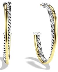 David Yurman - Crossover Extra-large Hoop Earrings With Gold - Lyst