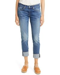 15df6e1c8af Rag & Bone The Dre Skinny Boyfriend Jeans Greencast in Blue - Lyst