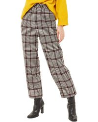 TOPSHOP - Suzy Check Peg Trousers - Lyst