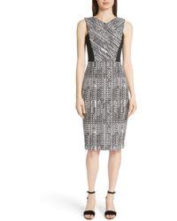 Jason Wu - Sleeveless Herringbone-jacquard Sheath Cocktail Dress - Lyst