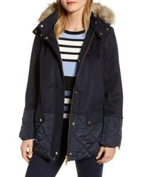 Joules - Mixed Texture Hooded Coat With Faux Fur Trim - Lyst