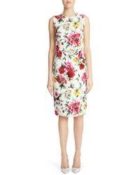 Dolce & Gabbana - Floral Print Jacquard Sheath Dress - Lyst