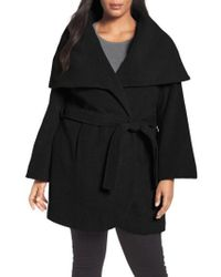 Tahari - Marla Cutaway Wrap Coat With Oversize Collar - Lyst