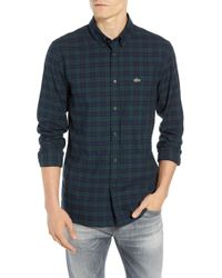 Lacoste - Motion Regular Fit Wrinkle Free Check Sport Shirt - Lyst