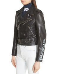 Balenciaga - Logo Sleeve Leather Moto Jacket - Lyst